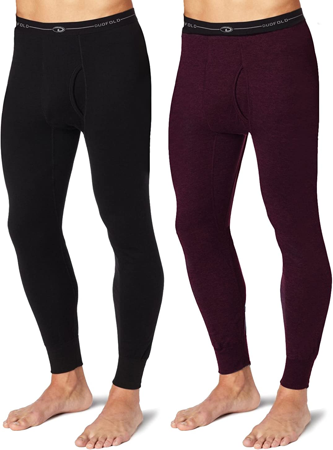 Duofold KMW2 Men's Mid Weight Wicking Thermal Pant 1 Black + 1 Bordeaux Red