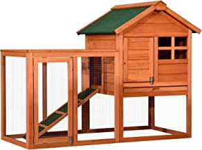 Lovupet Wooden Rabbit Bunny Hutch Outdoor Chicken Coop Dog House with Run 2020