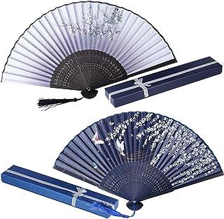 2er Set Japanisch Fächer mit Geschenkbox Handfächer Damen Faltfächer Japanisch Chinesisch Fächer Bambus Wandfächer Schmetterling Vintage Holz Taschenfächer Deko Hochzeit Party Tanzen Kostüm Grau/Blau