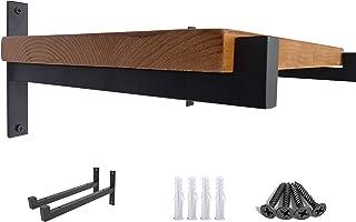 OVOV 2 Pcs Steel Heavy Duty Shelf Brackets Wall Mounted Industrial Metal Shelf Supports Matte Black 10 Inches
