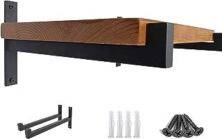 OVOV 2 Pcs Steel Heavy Duty Shelf Brackets Wall Mounted Industrial Metal Shelf Supports Matte Black 12 Inches