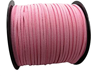 Pamir Tong Strong Suede Leather Lace 100 Yards 2.6mm Faux Leather Cord for Jewelry Making Tassels Bracelet Necklace DIY (Pink)