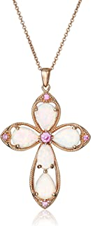 14K Rose Gold over Sterling Silver Created Opal with Created Pink Sapphire Cross Pendant Necklace, 18