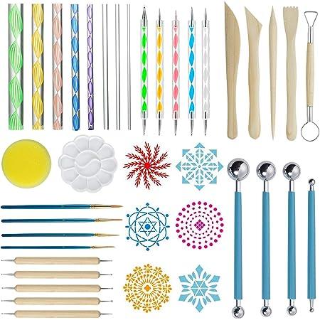 ZWOOS Kits de Peinture Mandala, 40 Pièces Mandala Art Dotting Rock Kit de Peinture Boule Stylet Dotting Tools pour Mandala Art, Peinture de Roches,Nail Art, Artisanat