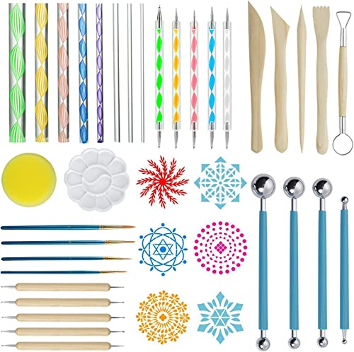 ZWOOS Kits de Peinture Mandala, 40 Pièces Mandala Art Dotting Rock Kit de Peinture Boule Stylet Dotting Tools pour Ma...
