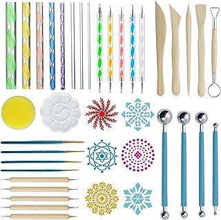 ZWOOS Kits de Peinture Mandala, 40 Pièces Mandala Art Dotting Rock Kit de Peinture Boule Stylet Dotting Tools pour Mandala...