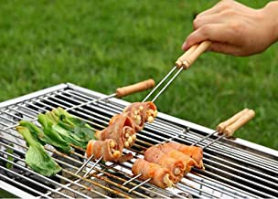 Inditradition 10 Pieces Barbecue Skewers Set with Stainless Steel Needle and Wooden Handle