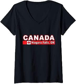 Womens Canada Flag and Ontario's Niagara Falls V-Neck T-Shirt