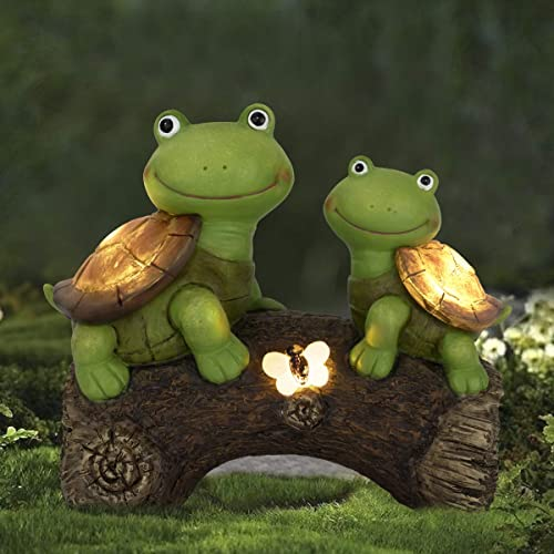 Garden Statue Turtles Figurine - Cute Frog Face Turtles Animal Sculpture with Solar LED Lights for Indoor Outdoor Dec...