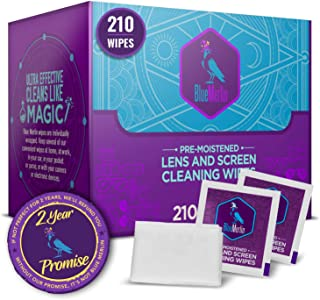 Blue Merlin Lens Wipes   Pre Moistened Glasses Wipes Also for Phone Screen and Camera Lenses   Perfectly Saturated   Eyeglass Cleaner   210 Travel Lens Wipes   Safe for Coated Lens Cleaning