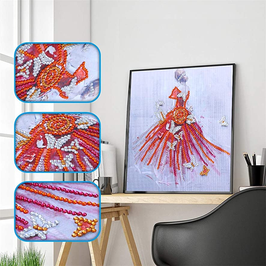 UmbWorld DIY 5D Diamond Painting, Crystal Rhinestone Diamond Embroidery Paintings Pictures Arts Craft by Number Kits for Adults Kids (Girl 1)