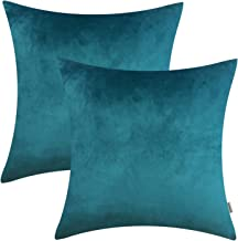 HOMFINER 20x20 inch Velvet Throw Pillow Covers for Couch, Pack of 2, Soft Decorative Bed, Sofa or Bedroom Pillows Case Teal