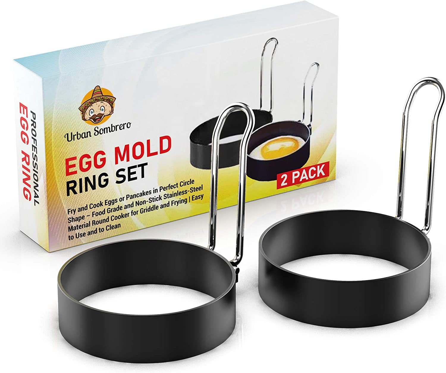 Egg Mold Ring Set (2 Pack) – Fry and Cook Eggs or Pancakes in Perfect Circle Shape – Food Grade and Non-Stick Stainless-Steel Material Round Cooker for Griddle and Frying   Easy to Use and to Clean