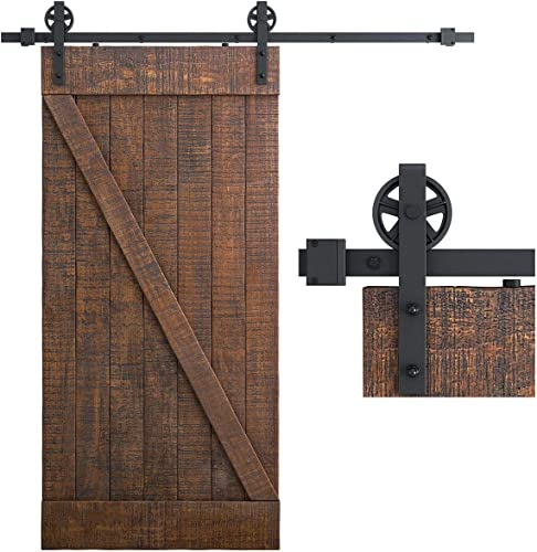 """wholesale SMARTSTANDARD 6.6 Feet Heavy Duty Sliding Barn Door Hardware Kit, Black, Smoothly and Quietly, Simple and Easy to high quality Install, outlet online sale Fit 36""""-40"""" Wide Panel (Industrial Bigwheel Hangers) online"""