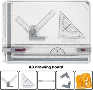 Drawing Board A3 Drafting Board Drawing Table Board Multi-Function Tool Set Graphic Architectural Adjustable Measuring System Angle for Construction Examination and Engineering Professional Templates