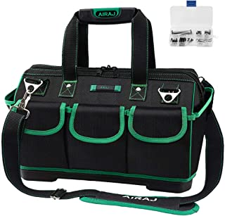 AIRAJ 18-in Waterproof Tool Bag,Wide Mouth Multi-pocket Tool Organizer with Adjustable Shoulder Strap,Suitable for Electri...