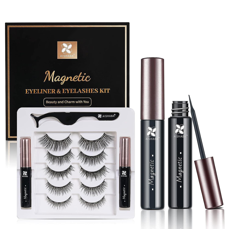 Max 45% OFF Aishaba Magnetic Eyelashes and Eyeliner Pairs 7 Kit Nat Free Shipping New
