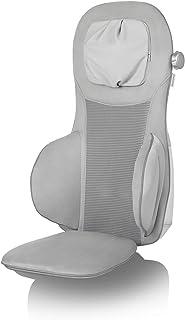 Medisana MC 825 Plata Funda de asiento de masaje Shiatsu, masaje de cuello, función de calentamiento, 3 intensidades, función de luz roja, con mando a distancia para la espalda y el cuello