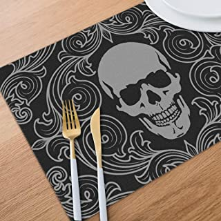 Bghnifs Cool Skull Graphics Placemats Table Mats Set of 6 Washable Non Slip Heat Insulation Place Mats Dining Room Kitchen Decor 12 X 18