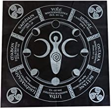 Beauti-chen Tarot Cloth: Triple Goddess with Pentagram - 4949CM (Gold/Silver On Black Pentacle/Pentagram) Stunning