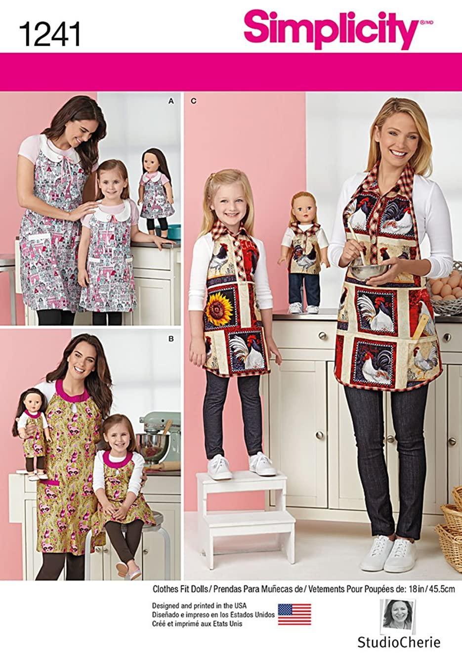 Simplicity Creative Patterns 1241 Child's and Misses' Aprons and Aprons for 18-Inch Doll, Size: A S - L / S - L