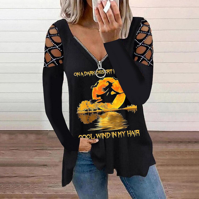 Women Hollow Out Shoulder T-shirt Pullover Tops,Long Sleeve Halloweens Printed Shirts V-Neck Zipper Tops for Women