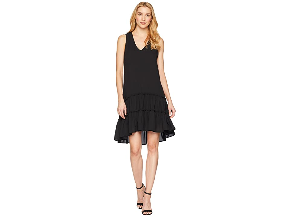 Karen Kane Ruffle Hem Dress (Black) Women