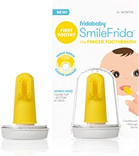 Baby's First Toothbrush with Case, Silicone, BPA-Free - SmileFrida the Finger Toothbrush by Fridababy, cleans teeth and gu...