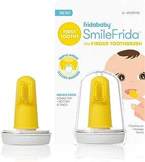 مسواک اول کودک با مورد، سیلیکون، BPA-Free - SmileFrida مسواک انگشت توسط Fridababy، پاک کردن دندان ها و لثه ها با قلم مو دو طرفه برای نوزادان 3 ماه و بالاتر