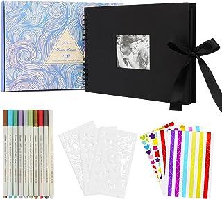 Enibon Album Photo Scrapbooking DIY, Album Photo Vierge 80 Pages Noir, Livre Photo Bricolage Autocollant pour Bébé Enfant,...