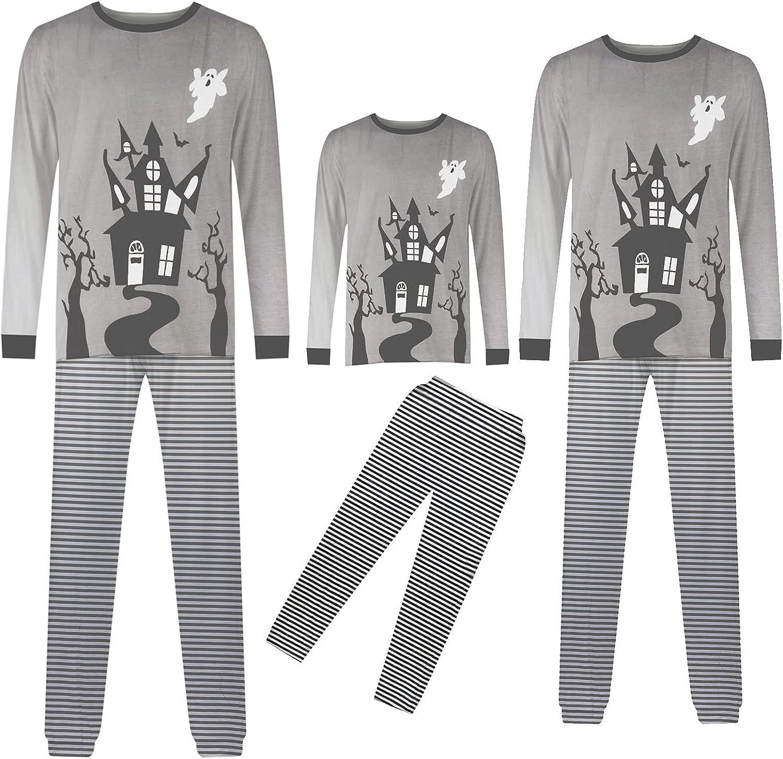 Halloween Matching Family Pajamas Set Sleepwear Castle Printed Long Sleeve Tee and Striped Pants Nighty Pjs Outfit