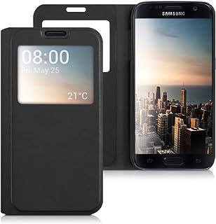 kwmobile Funda Compatible con Samsung Galaxy S7 - Carcasa de Cuero sintético con Ventana - En Negro