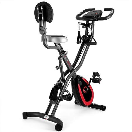 Ultrasport F-Bike 400BS Cross Bike Trainer, Backrest, Strap System, LCD Display, App, Collapsible, Dark Grey/Navy
