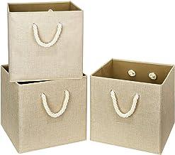 i BKGOO Składane pojemniki na kostki do przechowywania khaki tkanina lniana składany odporny kosz pudełko organizer z bawe...