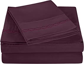 Super Soft Light Weight, 100% Brushed Microfiber, Full, Wrinkle Resistant, 4-Piece Sheet Set, Plum with Cloud Embroidery