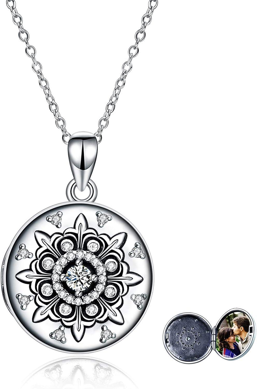 UCADRIT Snowflake Locket Max 72% OFF price Necklace Photo Personalized 925