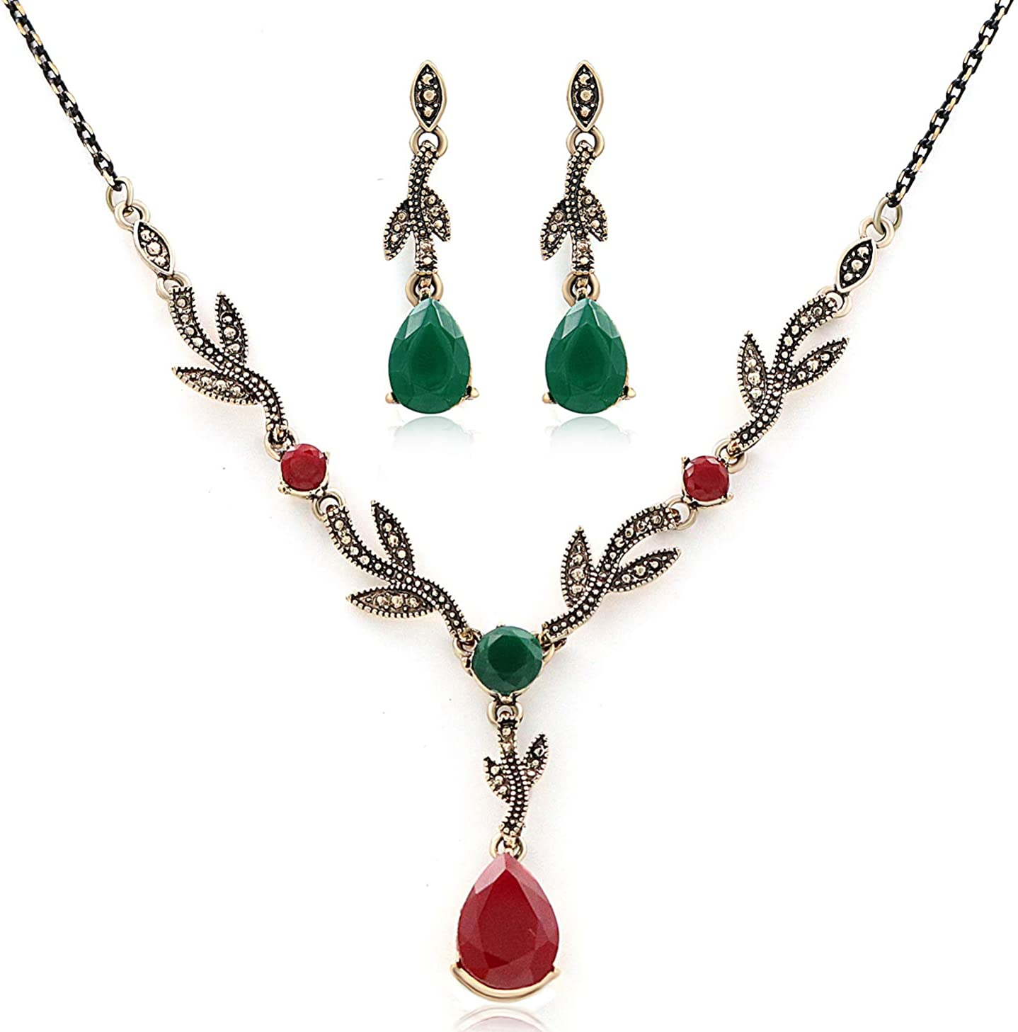 Chamqueen Resin Drop Pendant Crystal Jewelry Set Vintage Crystal Choker Necklace Retro Teardrop Earrings for Women