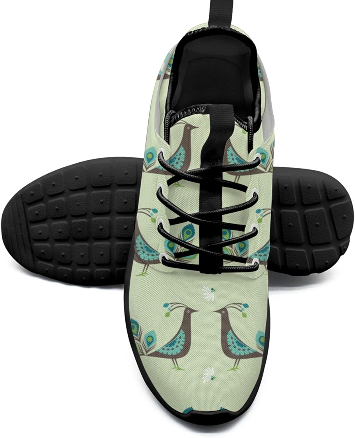 Women's Fashion Lightweight Volleyball Sneakers Cute Cartoon Peacock Birds-01 Stylish Boat shoes