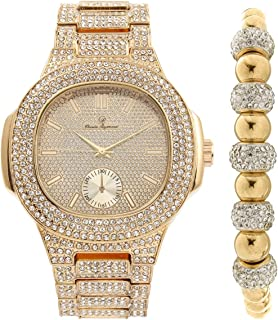 Bling-ed Out Oblong Case Metal Mens Gold Watch w/Matching Bling-ed Out Gold Shamballa Jewelry Bracelet Gift Set - 8475GSham