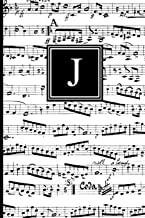 J: Musical Letter J Monogram Music Journal, Black and White Music Notes cover, Personal Name Initial Personalized Journal, 6x9 inch blank lined college ruled notebook diary, perfect bound, Soft Cover