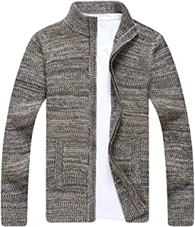 Tookang Men's Elegant Cardigans Cable Knit Sweater Jacket Full Zip Front Closure Collared Neck Lightweight Coat Outwear Sw...