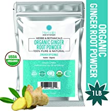 Organic Ginger Root Powder 1 Lb (Antioxidant & Digestive Aid) Ground Ginger Root 1 Pound Bag, USDA Certified Organic & Kosher