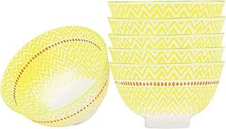 Large Cereal, Soup, Noodle Bowls Set of 6, Porcelain,5.6 Inch,Microwave Safe - Yellow