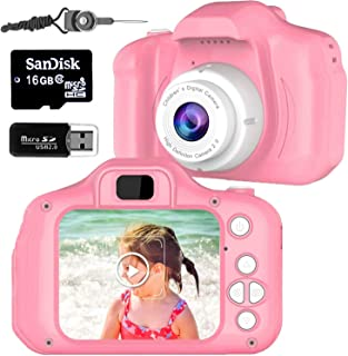 Kid Camera for Girls or Boys Age 3-10, Anti-Drop Toddler Digital Camera with Soft Silicone Shell and 8 Mega Pixel Dual Len...
