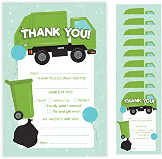 Garbage Truck Thank You Cards (10 Count) With Envelopes Bulk Birthday Party Bridal Blank Graduation Kids Children Boy Girl Baby Shower (10ct. Fill-In Thank You)