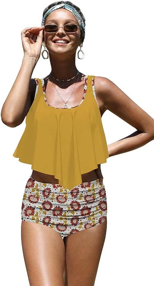 Angerella Womens Beautiful Colorful Sunflowers Seamless Pattern Flounce Bikinis High Waisted Swimsuits,2XL Yellow