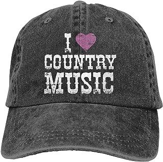 I Love Country Music Classic Vintage Washed Denim Cap Baseball Hat Unisex