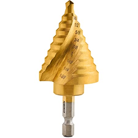 """Neiko 10174A Quick Change Spiral Grooved Step Drill Bit   10 Step Drill Bit Sizes in One - 1/4"""" to 1-3/8""""   High-Speed Steel and Titanium Nitride Coating   Two-Flute Design"""