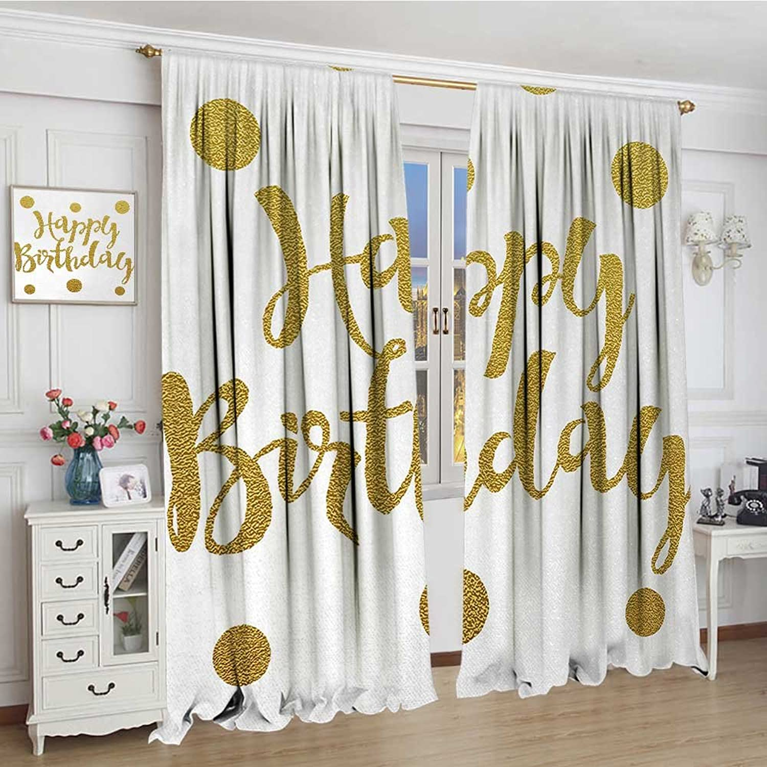 Smallbeefly Birthday Thermal Insulating Blackout Curtain Hand Writing Style Calligraphic Text Celebration Design Polka Dots Old Fashioned Decorative Curtains for Living Room 96 x96  Yellow White