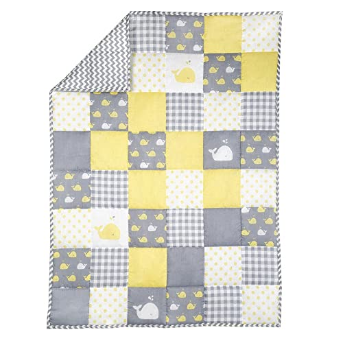 RAJRANG Baby Blanket for Newborn Kids Whale Print Toddler Quilt Cotton Soft Crib Comforter (Yellow and Grey)